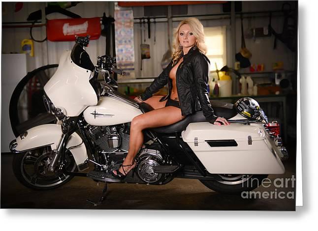 Harley Davidson Motorcycle Babe Greeting Card by Jt PhotoDesign