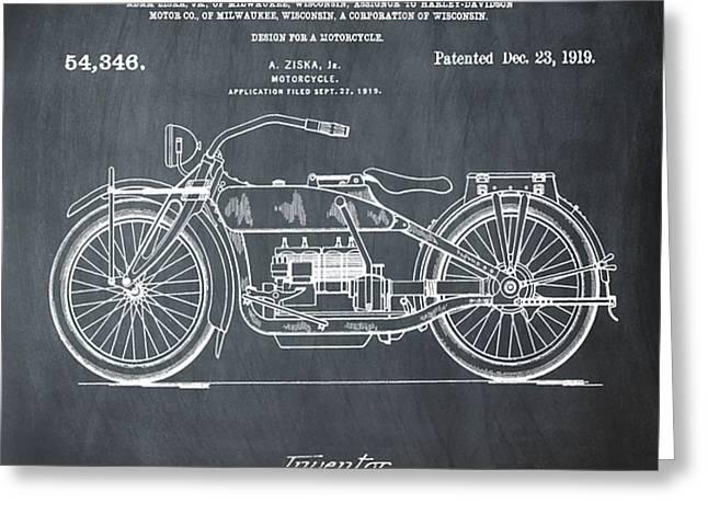 Harley Davidson Motorcycle Patent 1919 In Chalk Greeting Card