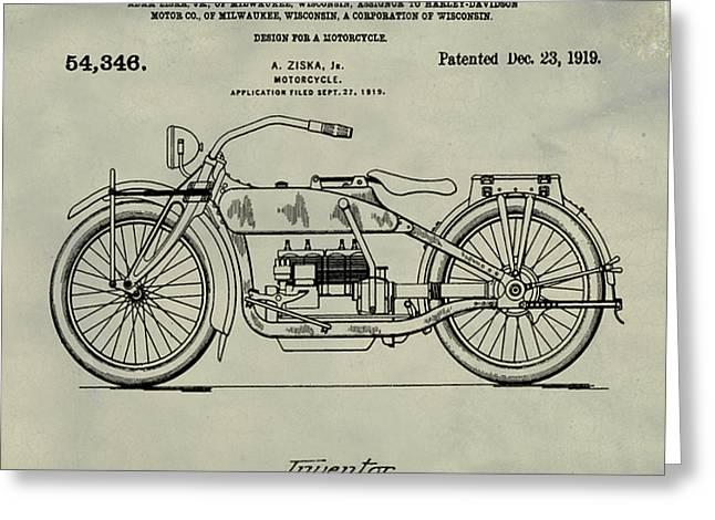 Harley Davidson Motorcycle Patent 1919 Weathered Greeting Card by Bill Cannon