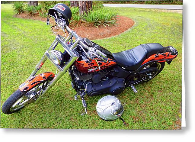 Harley Davidson  Parking In Garden 1 Greeting Card by Lanjee Chee