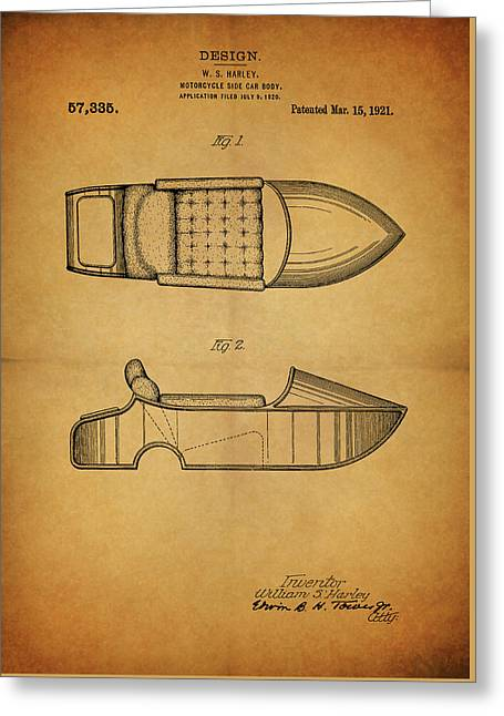 Harley Davidson Side Car Motorcycle Patent Greeting Card by Dan Sproul