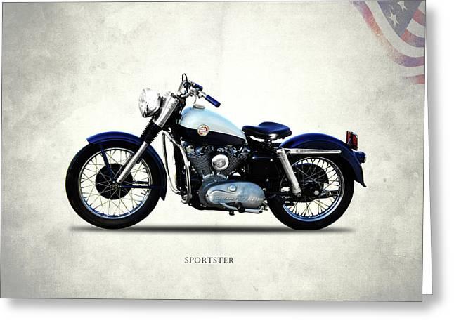 Harley Davidson Sportster 1957 Greeting Card by Mark Rogan