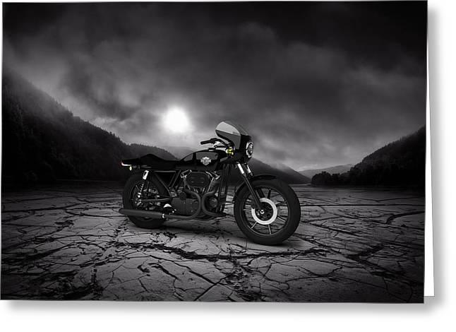 Harley Davidson Xlcr 1977 Mountains Greeting Card