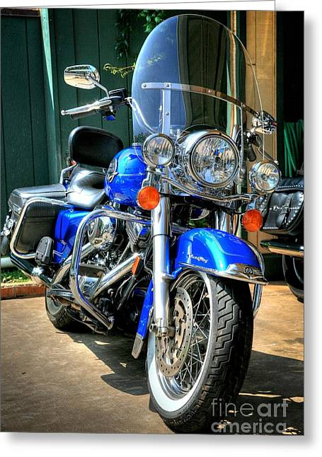 Harley In Electric Blue Greeting Card by Chris Dutton
