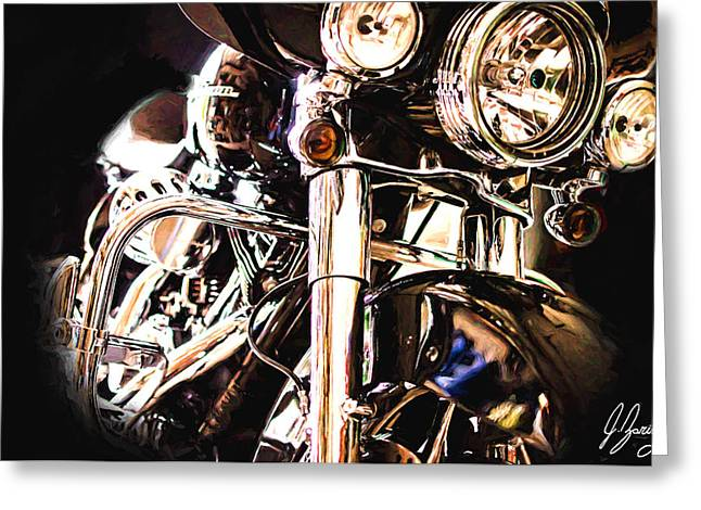 Harley In The Dark Greeting Card by Joshua Zaring