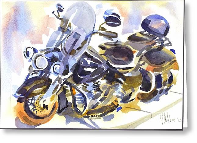 Motorcycle In Watercolor Greeting Card by Kip DeVore