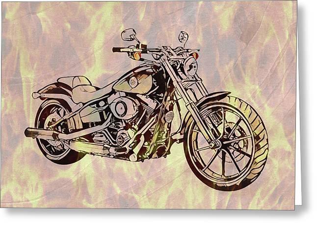 Greeting Card featuring the mixed media Harley Motorcycle On Flames by Dan Sproul