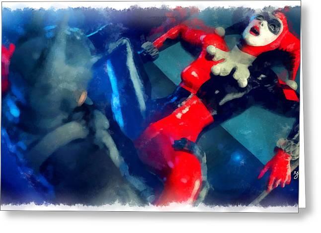 Harley Quinn Fighting Batman  - Aquarell Style -  - Da Greeting Card by Leonardo Digenio
