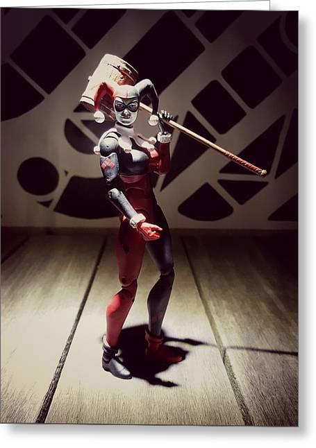 Harley Quinn Greeting Card by Leon Heart