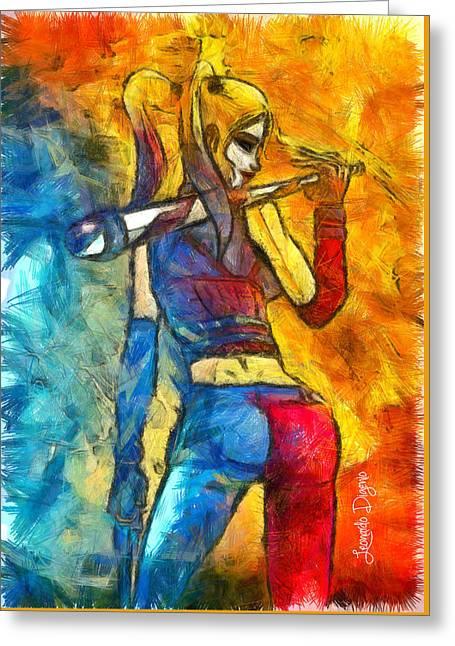 Harley Quinn Spicy - Pencil Style Greeting Card by Leonardo Digenio