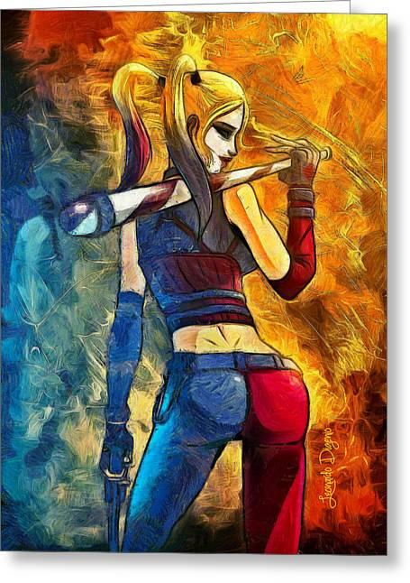 Harley Quinn Spicy  - Van Gogh Style -  - Da Greeting Card