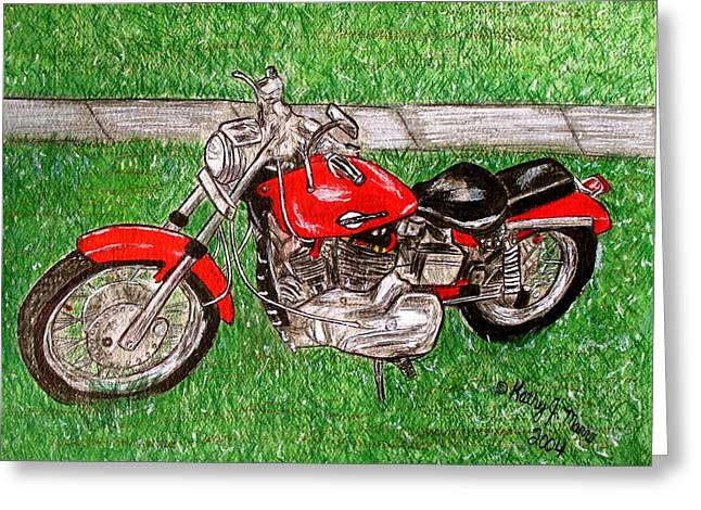 Greeting Card featuring the painting Harley Red Sportster Motorcycle by Kathy Marrs Chandler