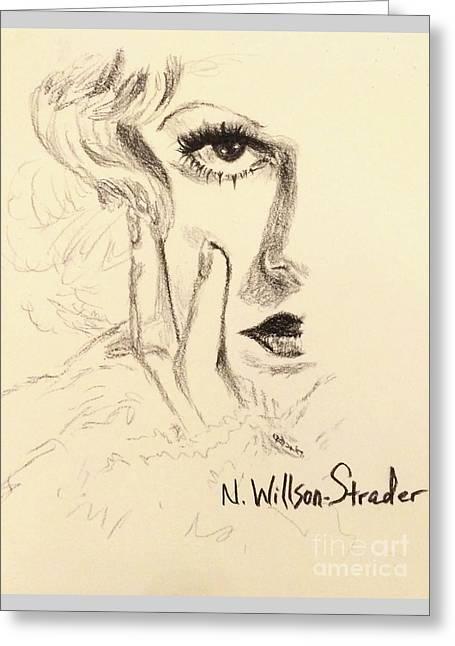 Harlow, Half Face Greeting Card by N Willson-Strader