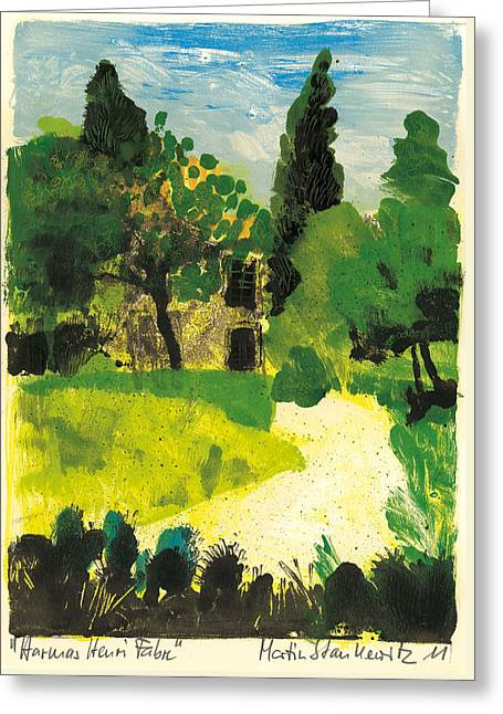 Greeting Card featuring the painting Harmas Henri Fabre Provence Garden by Martin Stankewitz