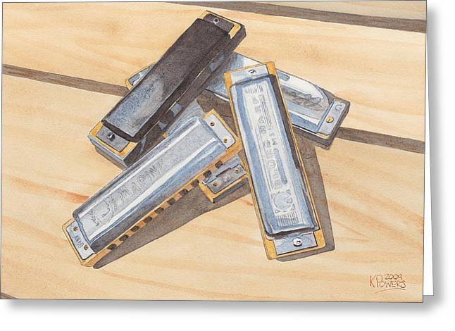 Harmonica Pile Greeting Card