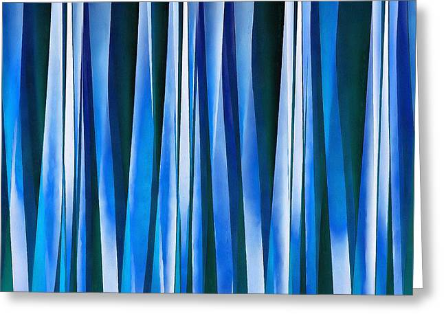 Harmony And Peace Blue Striped Abstract Pattern Greeting Card by Tracey Harrington-Simpson