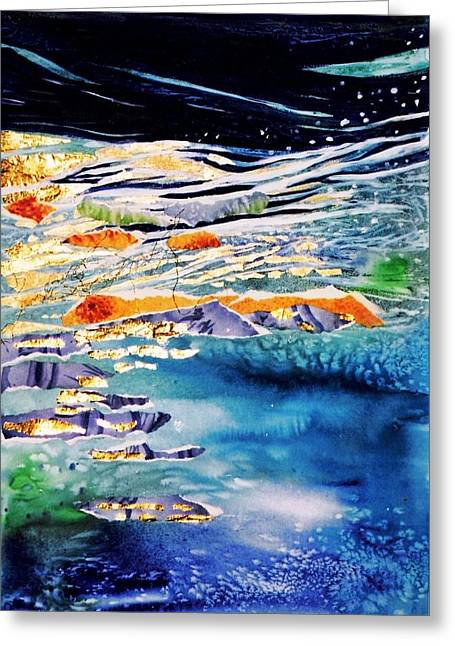 Outerspace Greeting Cards - Harmony in Blue and Gold  Greeting Card by Trudi Doyle