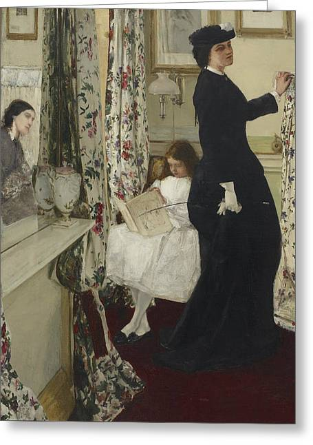 Harmony In Green And Rose The Music Room  Greeting Card by James Abbott McNeill Whistler