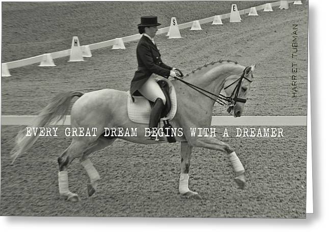 Greeting Card featuring the photograph Harmony Quote by Dressage Design