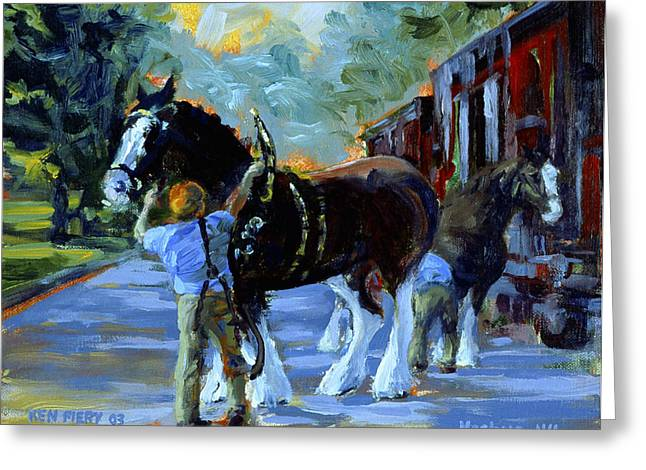 Harnessing The Clydesdales Greeting Card