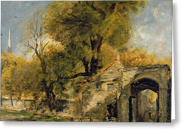 Harnham Gate - Salisbury Greeting Card by John Constable