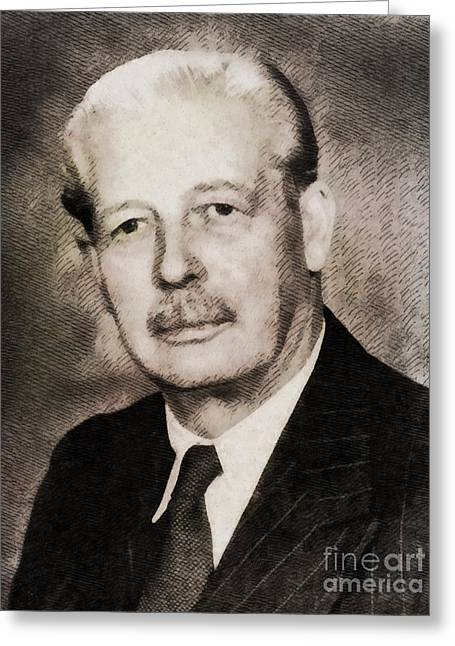 Harold Macmillan, Prime Minister United Kingdom By John Springfield Greeting Card