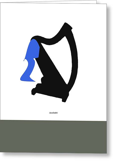 Harp In Blue Greeting Card