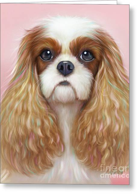 Greeting Card featuring the painting Harper Cavalier by Catia Lee