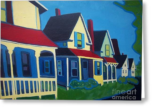 Harpswell Cottages Greeting Card by Debra Bretton Robinson