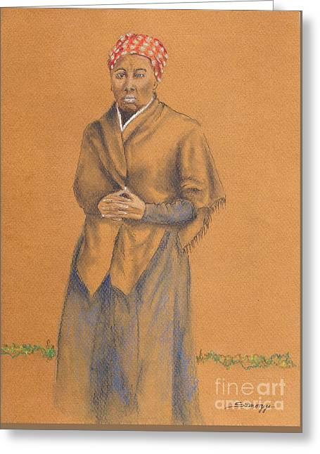 Harriet, Hero -- Portrait Of Harriet Tubman Greeting Card by Jayne Somogy