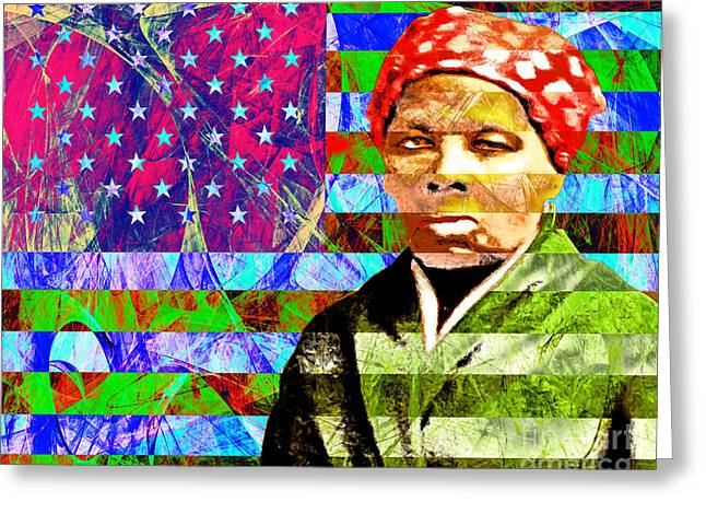 Harriet Tubman Underground Railroad American Flag 20160422 Greeting Card by Wingsdomain Art and Photography