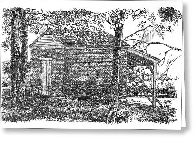 Pen And Ink Rural Drawings Greeting Cards - Harris Homestead Smokehouse Greeting Card by Peter Muzyka
