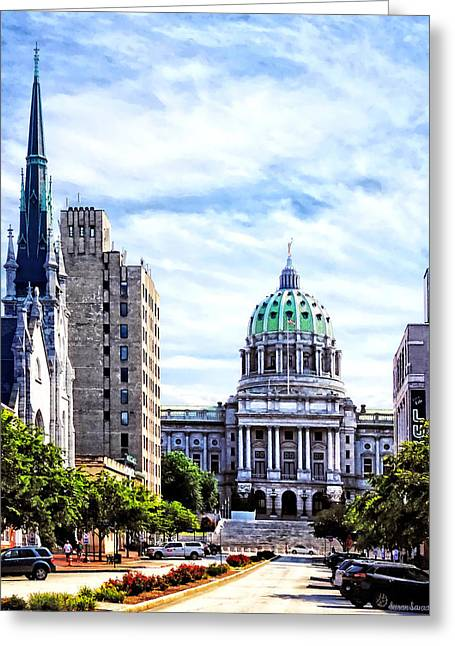 Harrisburg Pa - Capitol Building Seen From State Street Greeting Card