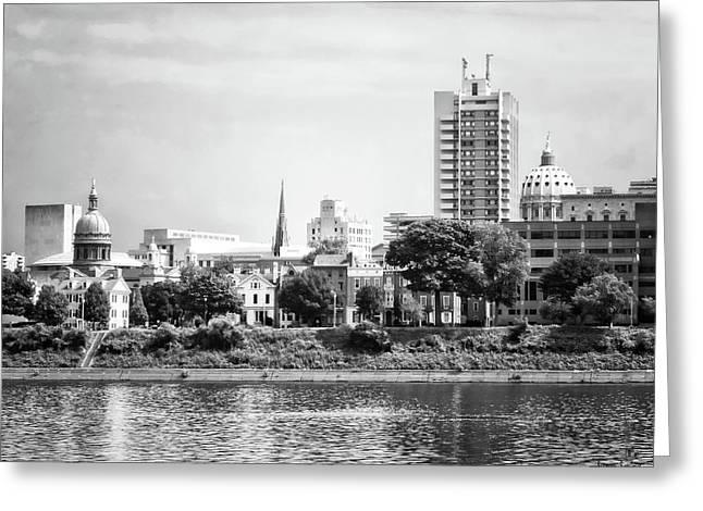 Harrisburg Pa Skyline II Black And White Greeting Card