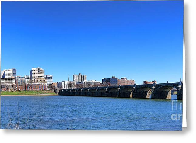 Harrisburg Skyline Greeting Card by Olivier Le Queinec