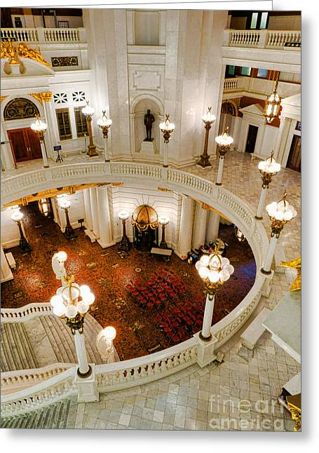 Harrisburg State Capitol Rotunda Greeting Card by Olivier Le Queinec