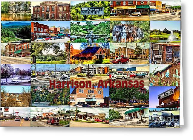 Harrison Arkansas Collage Greeting Card by Kathy Tarochione