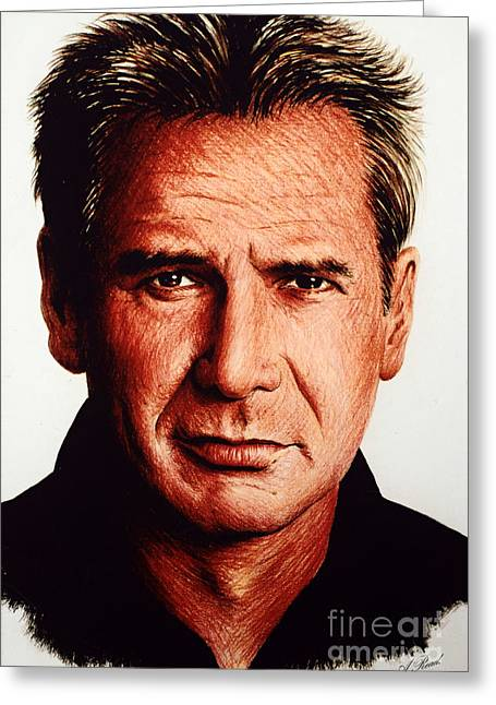Movie Star Drawings Greeting Cards - Harrison Ford Greeting Card by Andrew Read