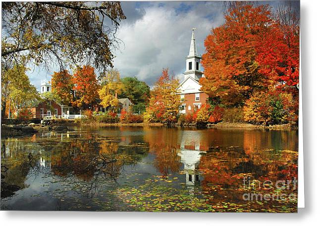 Harrisville New Hampshire - New England Fall Landscape White Steeple Greeting Card
