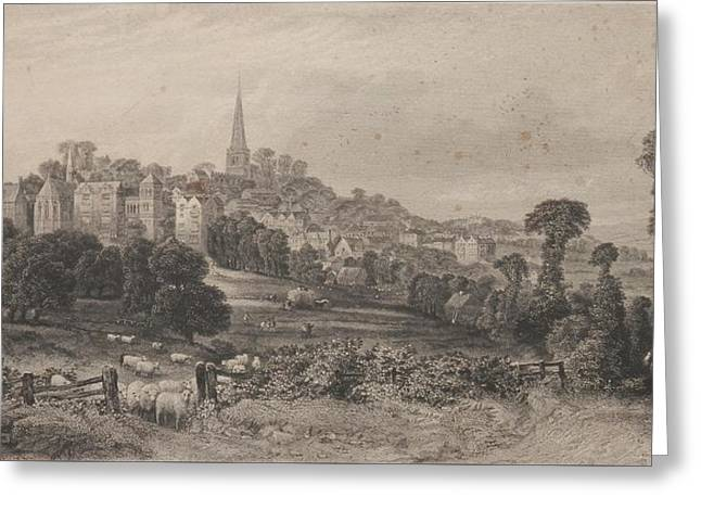 Harrow On The Hill Etching Greeting Card