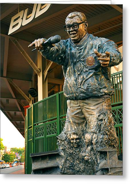 Chicago Cubs Stadium Greeting Cards - Harry Caray Greeting Card by Anthony Citro