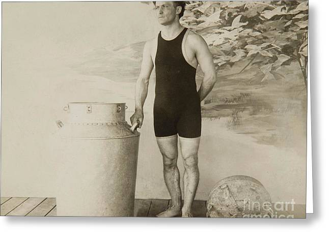 Harry Houdini About To Perform The Great Milk Can Escape Greeting Card