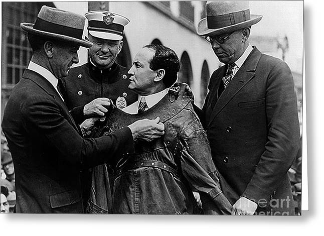 Harry Houdini Being Fitted Into A Straitjacket Greeting Card