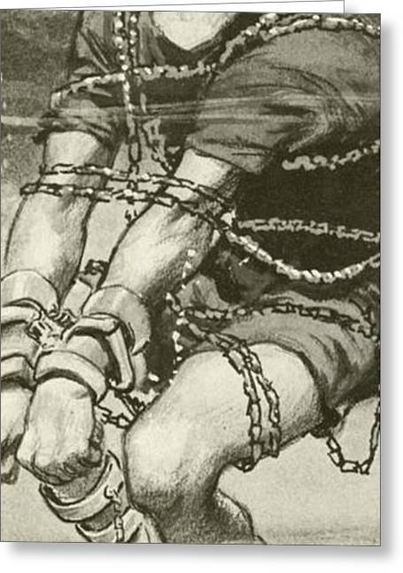 Harry Houdini, Handcuffed And In Chains, Underwater Greeting Card