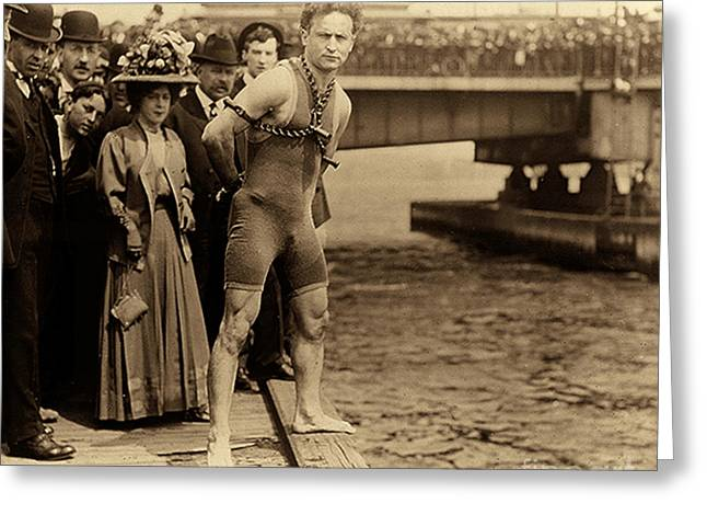 Harry Houdini In Chains, New York Harbor Greeting Card