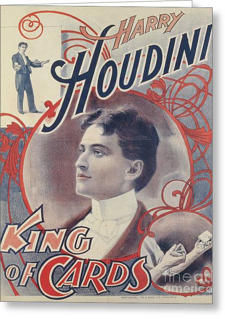 Harry Houdini, King Of Cards, 1895 Greeting Card
