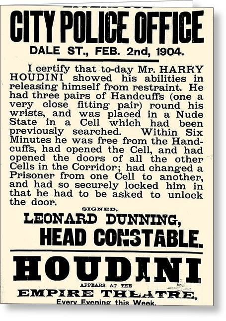 Harry Houdini Police Statement, 1904 Greeting Card