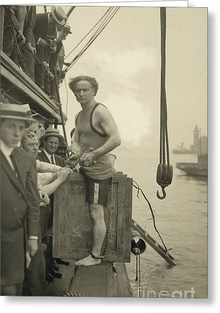 Harry Houdini Stepping Into A Crate That Will Be Lowered Into New York Harbor, 1912 Greeting Card