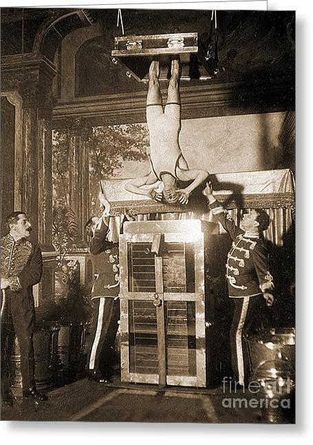 Harry Houdini Suspended Above A Tank Of Water  Greeting Card