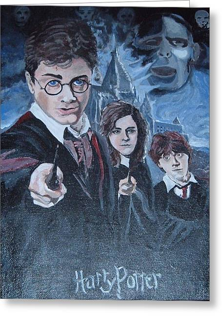 Harry Potter Greeting Card by Julie Cranfill